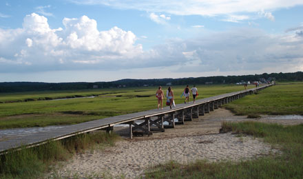 Tourists along the Sandwich Boardwalk